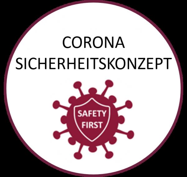 Corona Sicherheitskonzept Button